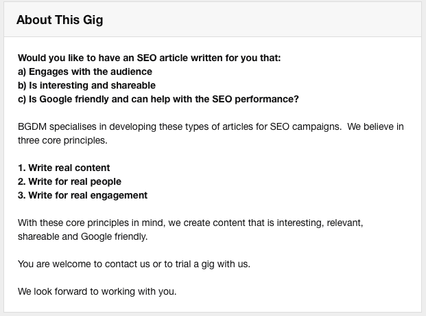 An example of a copywriting gig listing on Fiverr.