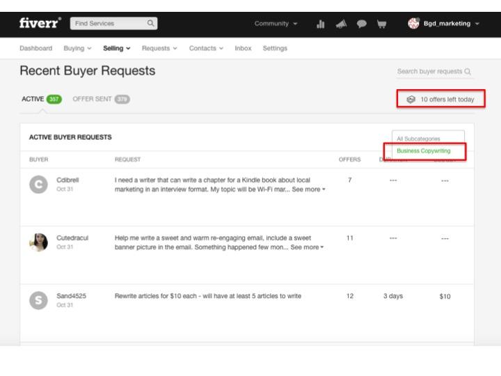 Fiverr buyer requests