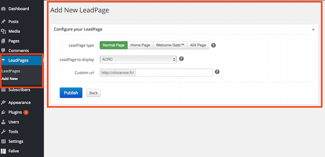 Add new leadpage WordPress