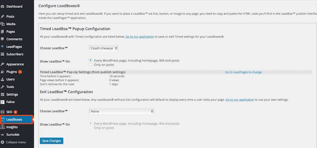 Leadbox configuration dashboard in WordPress.