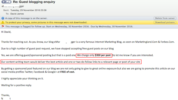 Guest blogging enquiry reply
