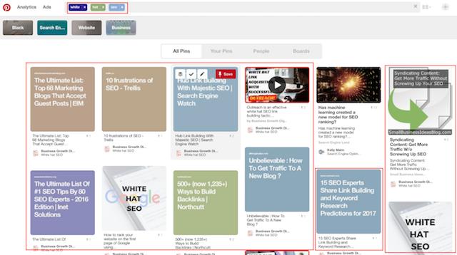 Pinterest search keyword visibility